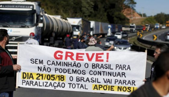 Brazilian truck drivers blocked the BR-116 highway with their trucks during a strike in Curitiba