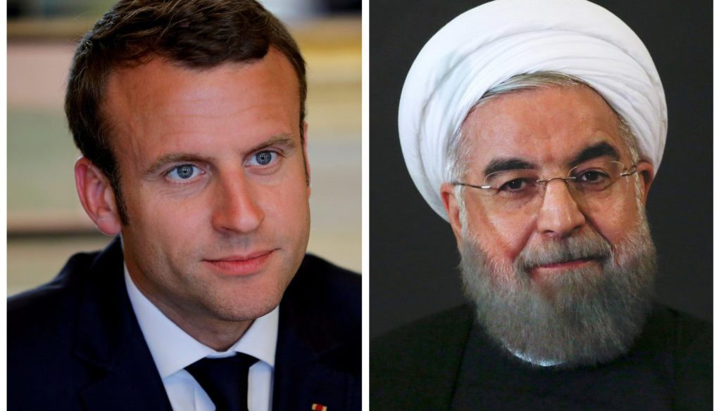 FILE PHOTO: Combination of file photos of showing French President Emmanuel Macron and Iran President Hassan Rouhani
