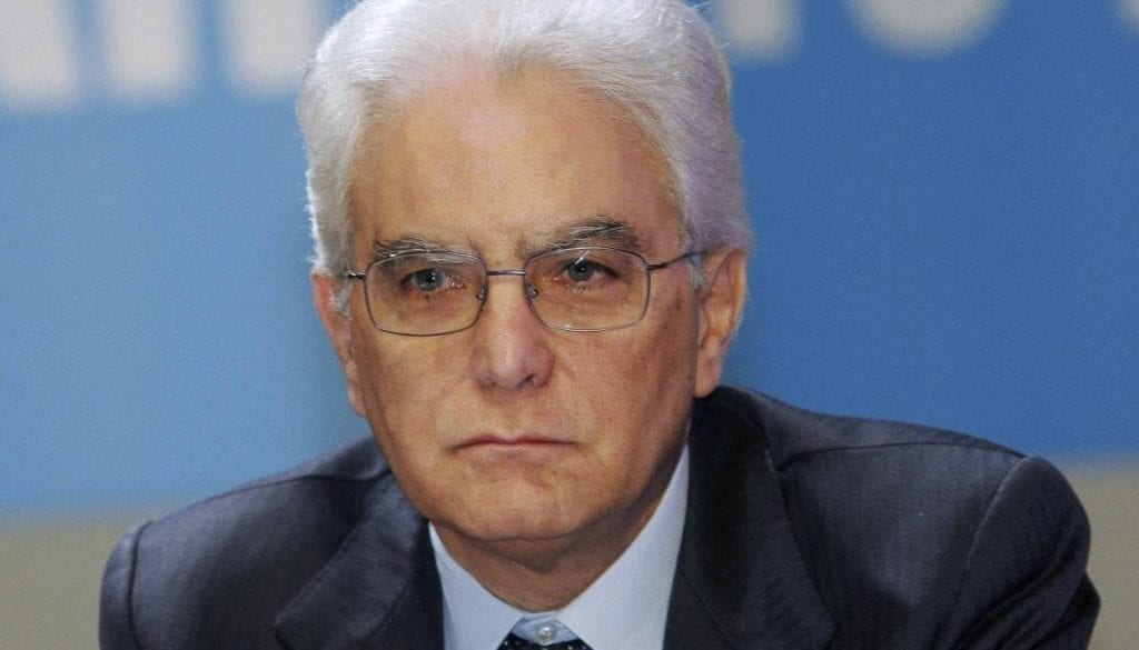 Sergio Mattarella attends a meeting in Rome