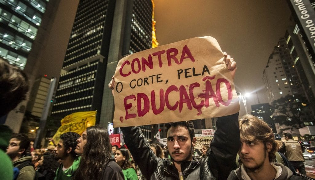 Student Protesters Over School Cuts in Sao Paulo