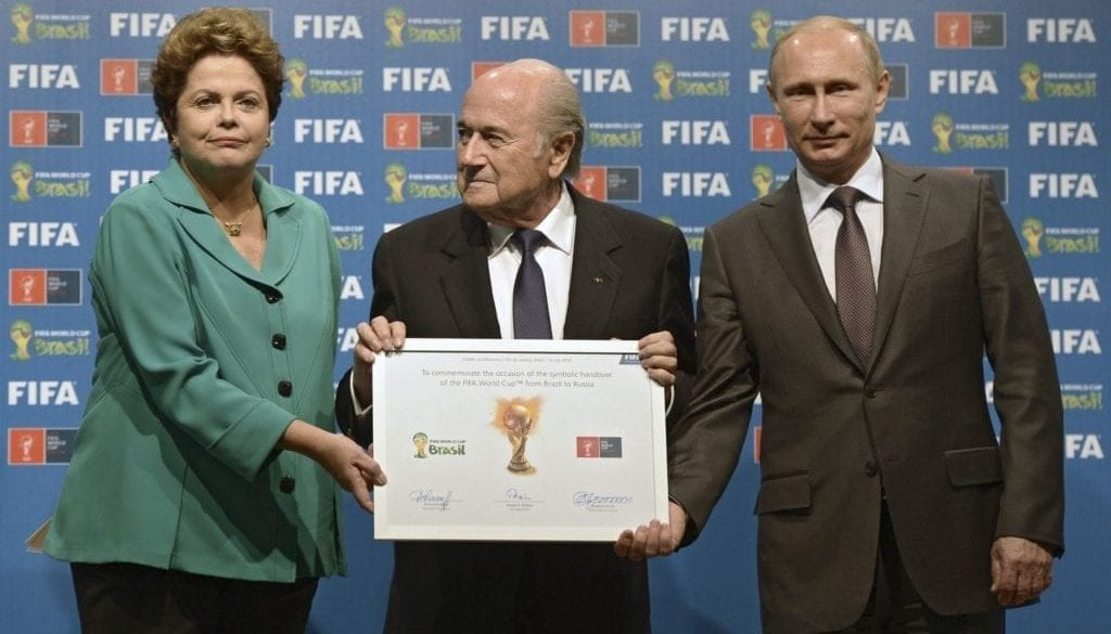 Russian President Putin, Brazil's President Rousseff and FIFA President Blatter take part in the official hand over ceremony for the 2018 World Cup, in Rio de Janeiro