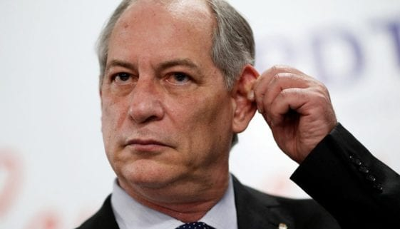 Brazil's former national integration minister Ciro Gomes gestures during the launching of his pre-candidacy for Brazil's presidential election for the Democratic Labour party, at the National Congress, in Brasilia