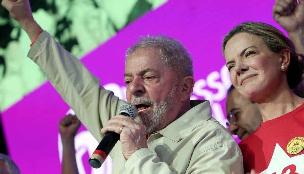 Former Brazilian President Luiz Inacio Lula da Silva attends the national congress of the Workers' Party with Senator Gleisi Hoffmann in Brasilia