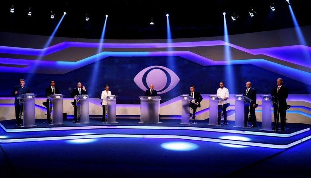Presidential candidates are seen during their first televised debate at the Bandeirantes TV studio in Sao Paulo