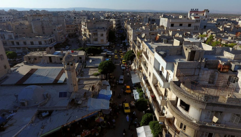 FILE PHOTO:A general view taken with a drone shows part of the rebel-held Idlib city
