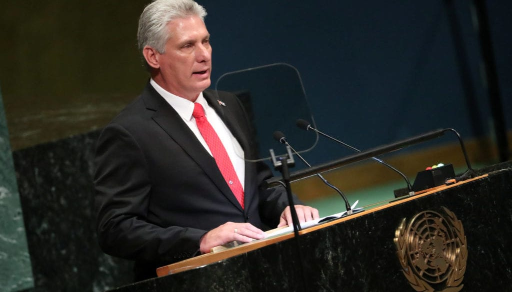 Cuba's President Miguel Diaz-Canel speaks at the Nelson Mandela Peace Summit during the 73rd United Nations General Assembly in New York