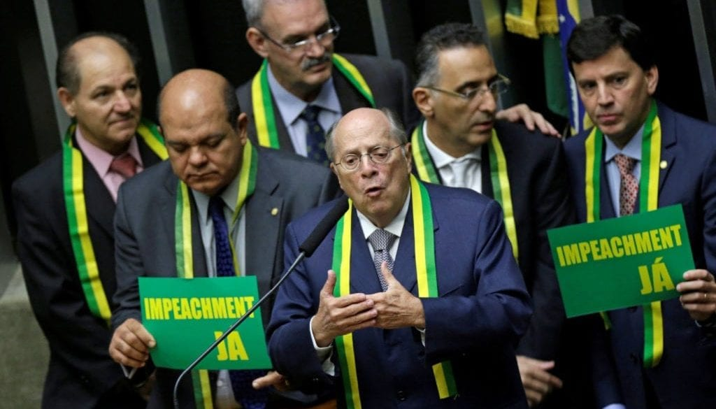 Jurist Reale Junior speaks during a session to review the request for Brazilian President Rousseff's impeachment at the Chamber of Deputies in Brasilia