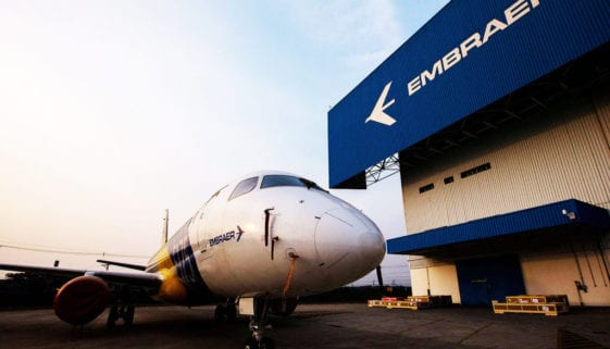 An Embraer E-175 jet sits outside the factory in Sao Jose dos Campos