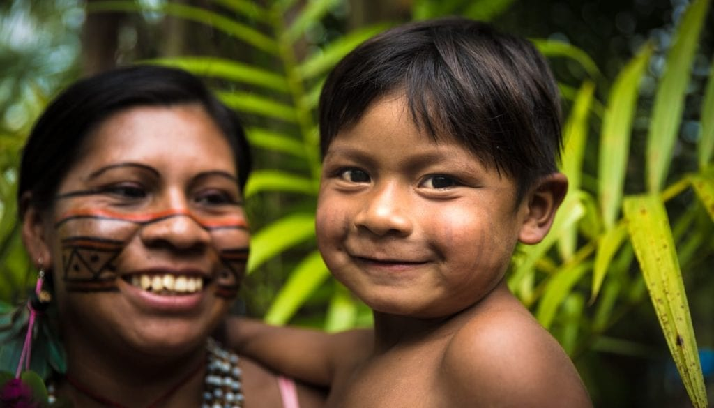 Mather and son from Tupi Guarani tribe in Manaus, Brazil