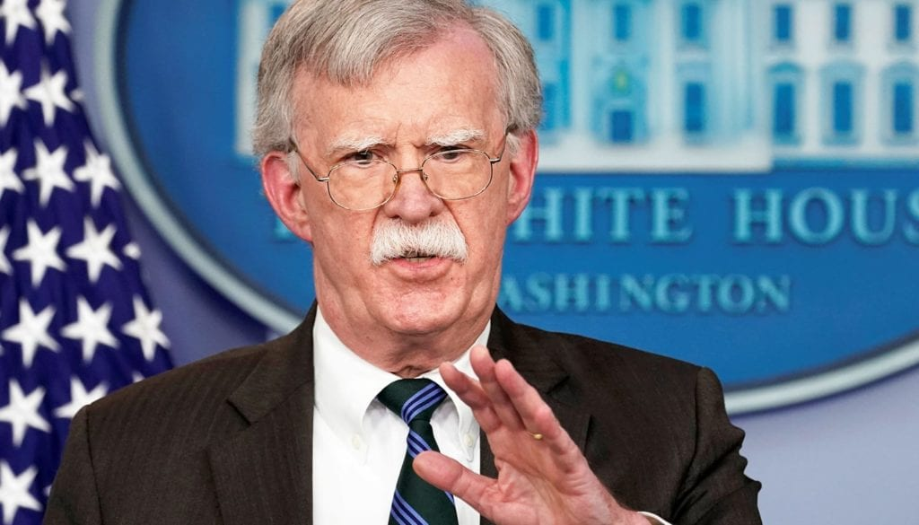 Bolton speaks during a press briefing at the White House in Washington
