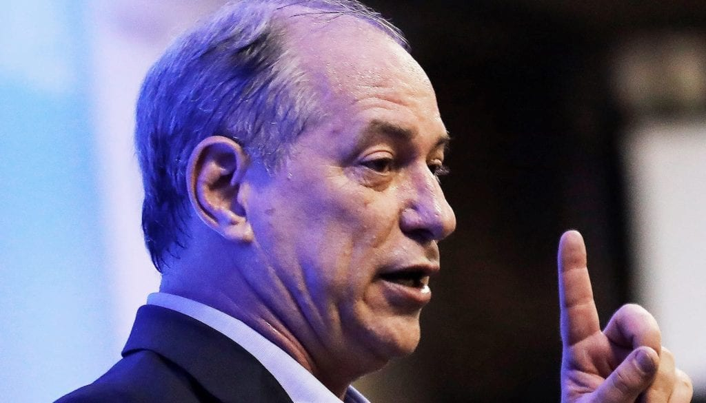 Brazilian Partido Democratico Trabalhista (PDT) presidential candidate Ciro Gomes talks at a worker's union forum in Sao Paulo