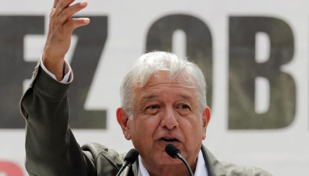 Mexico's President-elect Andres Manuel Lopez Obrador speaks to supporters during a rally as part of a tour to thank supporters for his victory in the July 1 election, in Mexico City