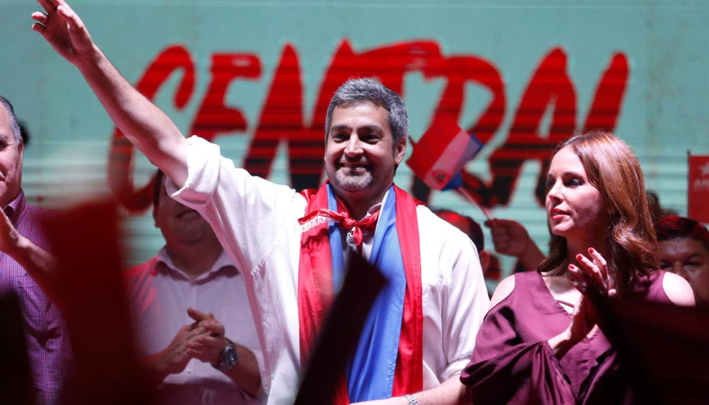 Colorado Party's presidential candidate Mario Abdo Benitez  attends a campaign rally ahead of the April 22 election in Itaugua