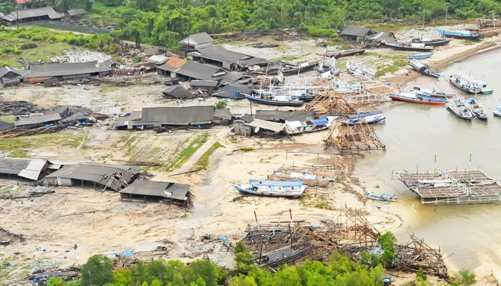 An aerial view of affected area after tsunami hit at coast of Pandeglang