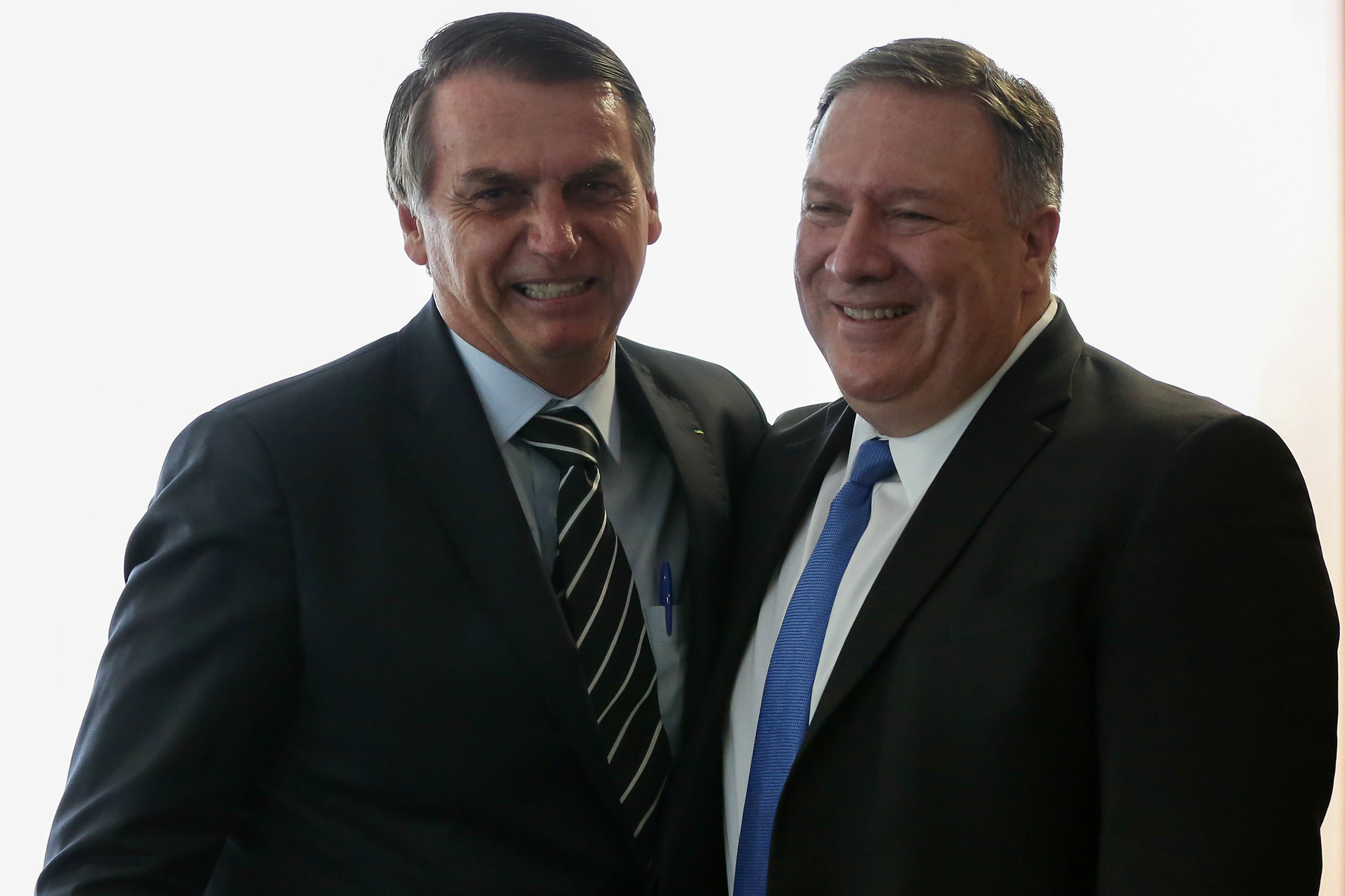 U.S. Secretary of State Mike Pompeo attends a meeting with Brazil's President Jair Bolsonaro in Brasilia, Brazil January 2, 2019, Marcos Correa/Presidency/Handout via REUTERS ATTENTION EDITORS - THIS IMAGE HAS BEEN SUPPLIED BY A THIRD PARTY.