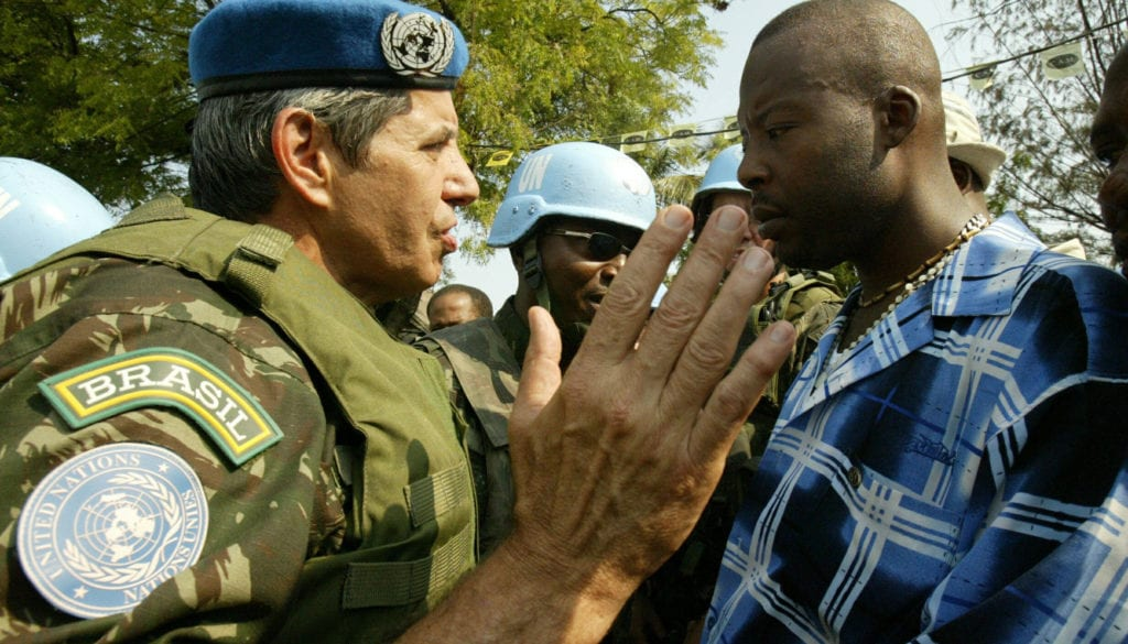 FILE PHOTO: Brazilian General of UN peacekeepers in Haiti negotiates with demonstrators.