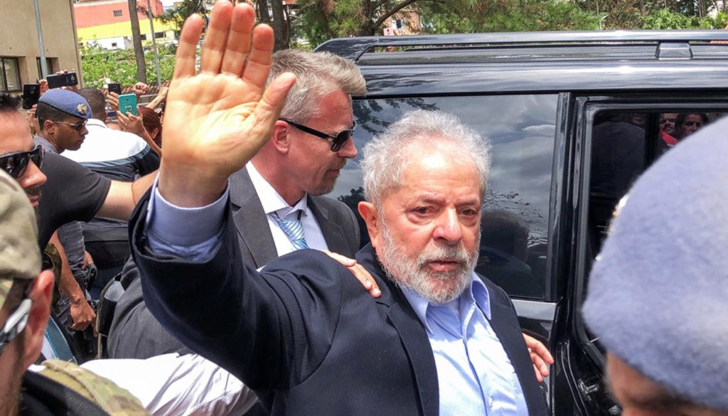 Brazil's former President Luiz Inacio Lula da Silva, leaves for the cemetery to attend the funeral of his 7-year-old grandson, in Sao Bernardo do Campo