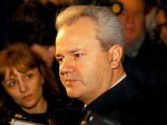 President Slobodan Milosevictalking to reporters at the Sava centre, Belgrade, Dec 1993