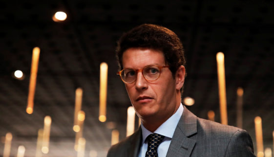 Brazil's Environment Minister Ricardo Salles looks on after a news conference in Sao Paulo