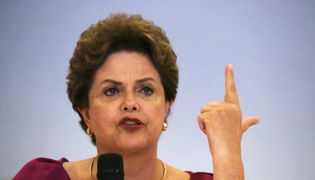 Former Brazilian President Dilma Rousseff speaks during a news conference in Rio de Janeiro