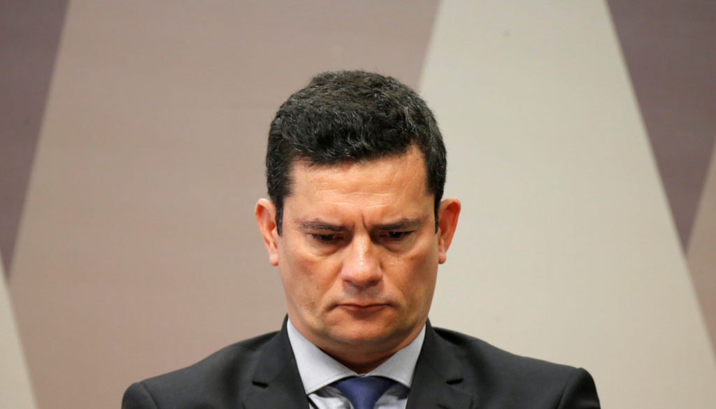 Brazil's Justice Minister Sergio Moro attends a commission of Constitution and Justice in the Brazilian Federal Senate in Brasilia