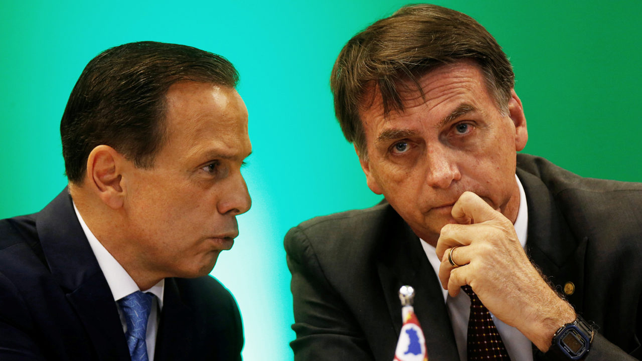 Sao Paulo's governors-elect Joao Doria (L) chats with Brazil's President-elect Jair Bolsonaro a meeting with governors-elect in Brasilia
