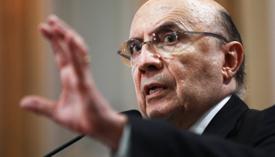 Brazil's Finance Minister Henrique Meirelles gestures during a meeting with businessmen in Porto Alegre