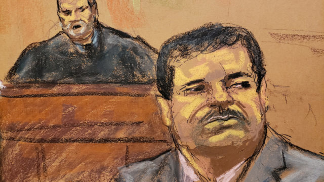 """Joaquin """"El Chapo"""" Guzman listens to court proceedings as U.S. District Judge Brian Cogan looks on in this court sketch during a sentencing hearing for Guzman in New York City"""