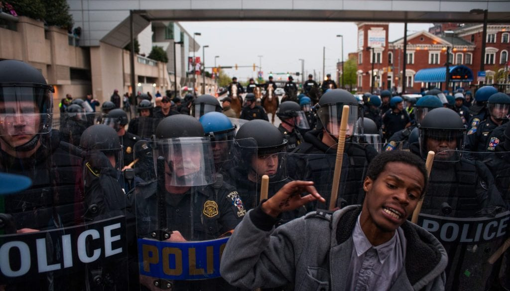 Demonstrators Gather Outside Baltimore Police Station to Protest Death of Freddie Gray