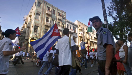 Cuban-university-students-march