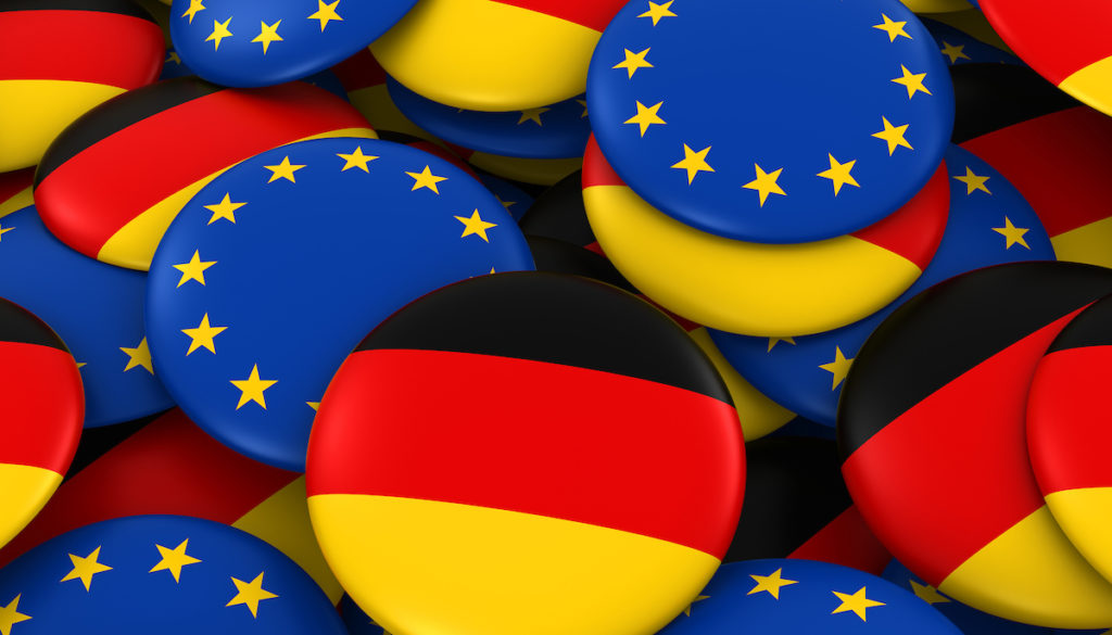 Germany and Europe Badges Background - Pile of German and European Flag Buttons 3D Illustration