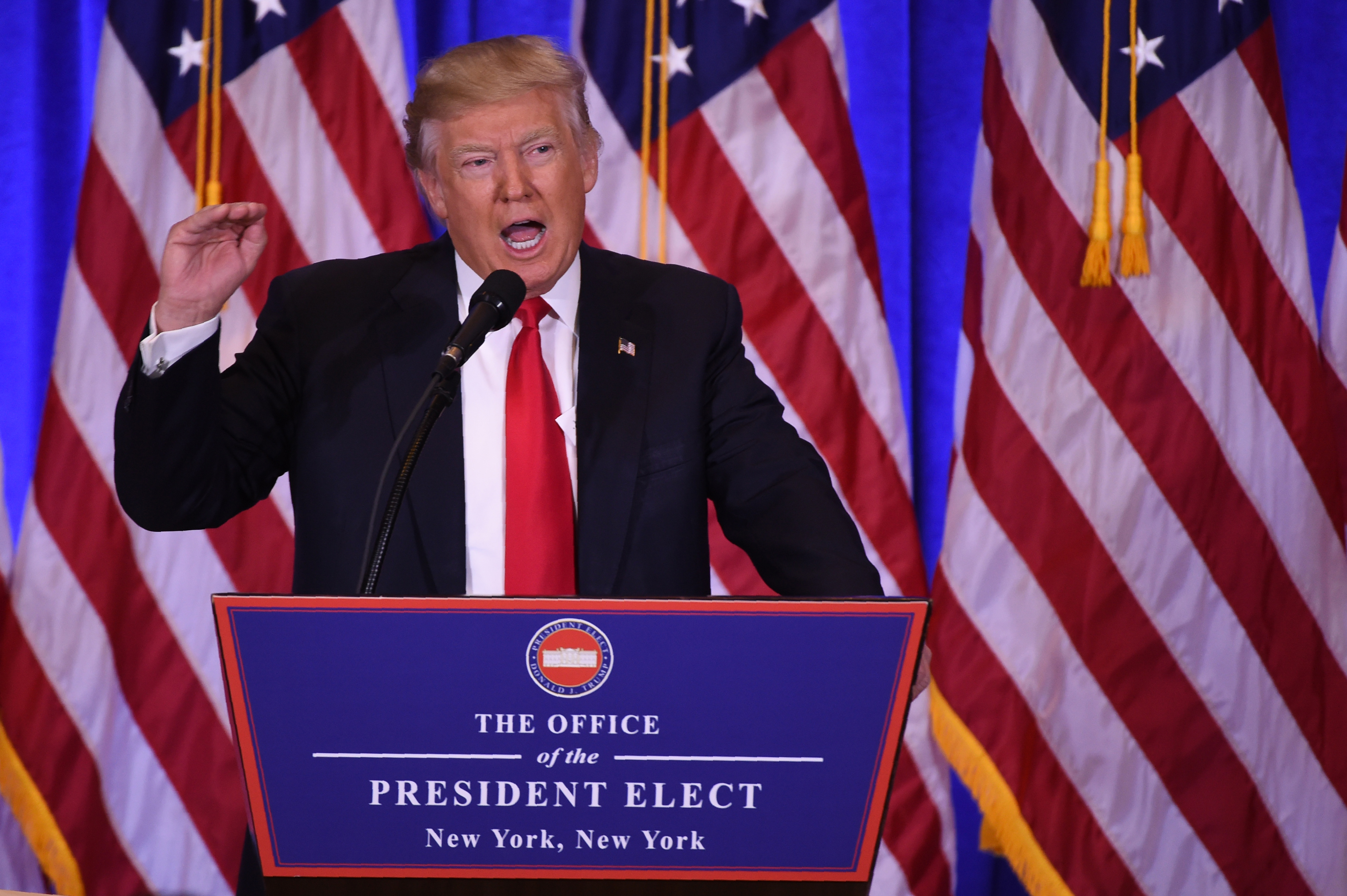 US President-elect Donald Trump gives a press conference January 11, 2017 in New York. Donald Trump is holding his first news conference in nearly six months Wednesday, amid explosive allegations over his ties to Russia, a little more than a week before his inauguration. / AFP PHOTO / DON EMMERT