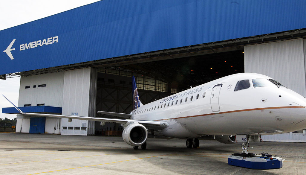 Brazilian aircraft manufacturer Embraer unveils its new regional jet E-175, in Sao Jose dos Campos