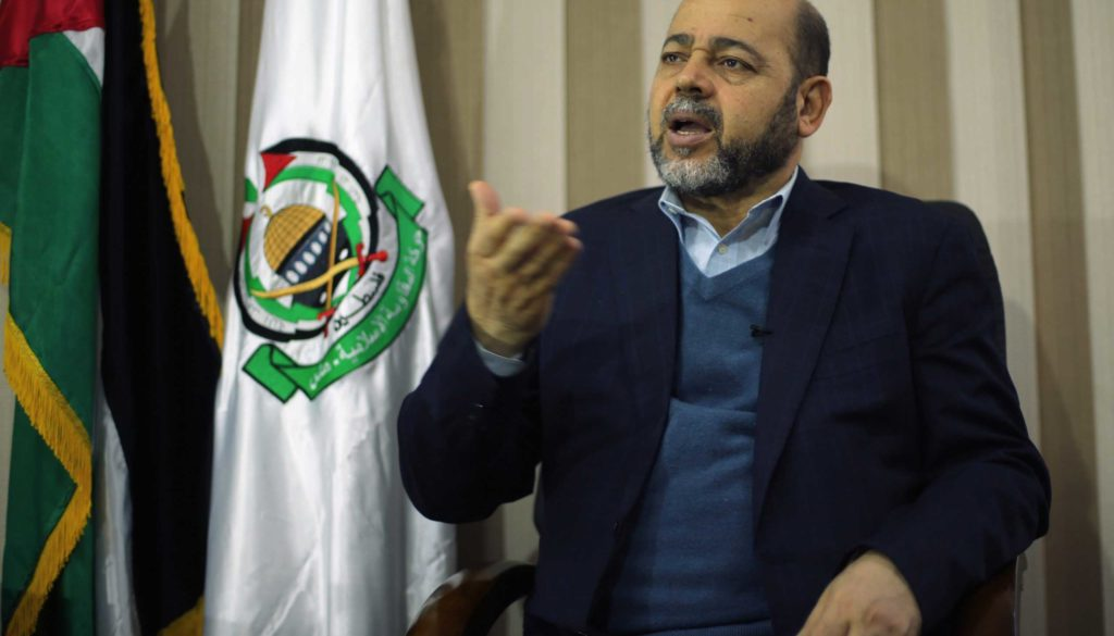 Deputy Hamas chief Moussa Abu Marzouk gestures during an interview with Reuters in Gaza City