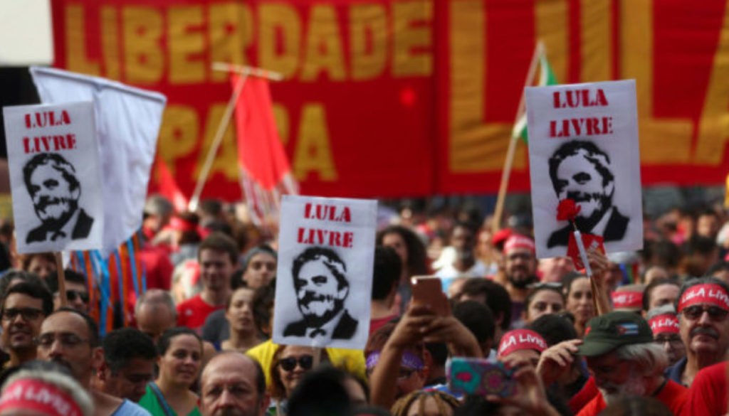 Supporters of Brazil's former president Luiz Inacio Lula da Silvademonstrate to demand Lula's freedom on the one-year anniversary of his arrest, in Sao Paulo