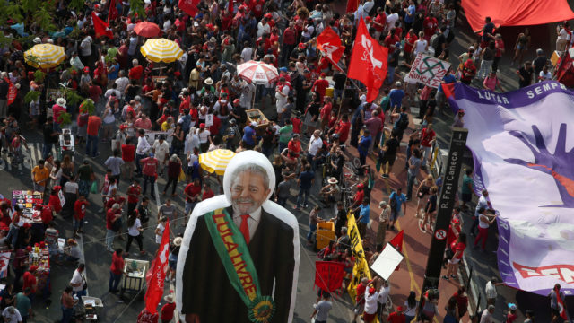 An inflatable figure of Brazil's former president Luiz Inacio Lula da Silva is seen during a protest while he is serving a prison sentence in Sao Paulo