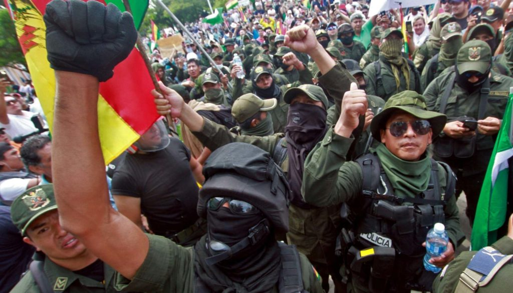 police-join-Bolivia-protests
