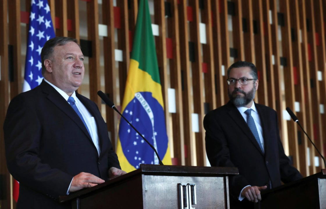 Brazil's Foreign Minister Ernesto Araujo observes as U.S. Secretary of State Mike Pompeo speaks during a news conference at Itamaraty Palace in Brasilia, Brazil January 2, 2019. REUTERS/Ricardo Moraes