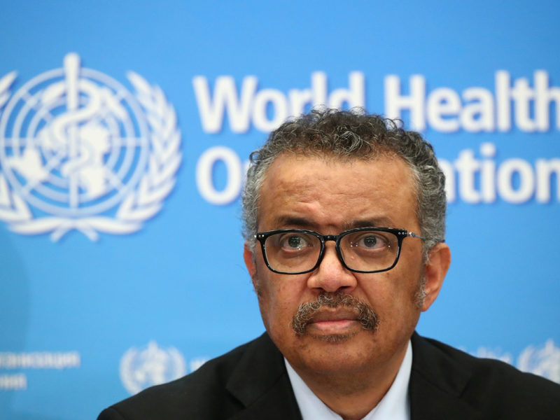 FILE PHOTO: Director-General of the WHO Tedros Adhanom Ghebreyesus, attends a news conference on the coronavirus (COVID-2019) in Geneva, Switzerland February 24, 2020. REUTERS/Denis Balibouse/File Photo