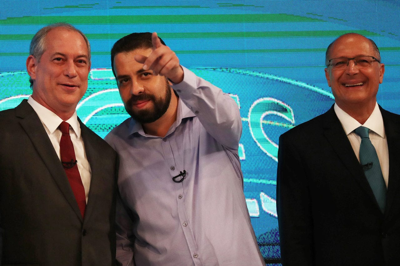 Presidential candidates (L-R) Ciro Gomes, Guilherme Boulos and Geraldo Alckmin are pictured ahead of a televised debate in Rio de Janeiro, Brazil October 4, 2018. REUTERS/Ricardo Moraes