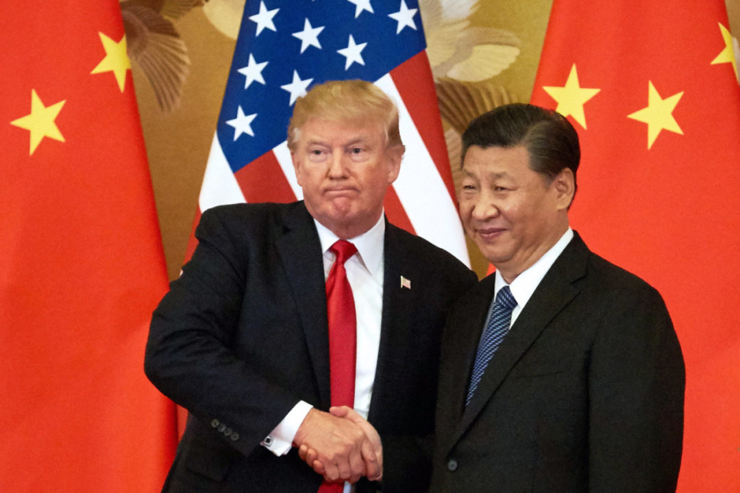 BEIJING, CHINA - NOVEMBER 9, 2017: US President Donald Trump (L) and China's President Xi Jinping shake hands at a press conference following their meeting at the Great Hall of the People in Beijing. Artyom Ivanov/TASS (Photo by Artyom IvanovTASS via Getty Images)