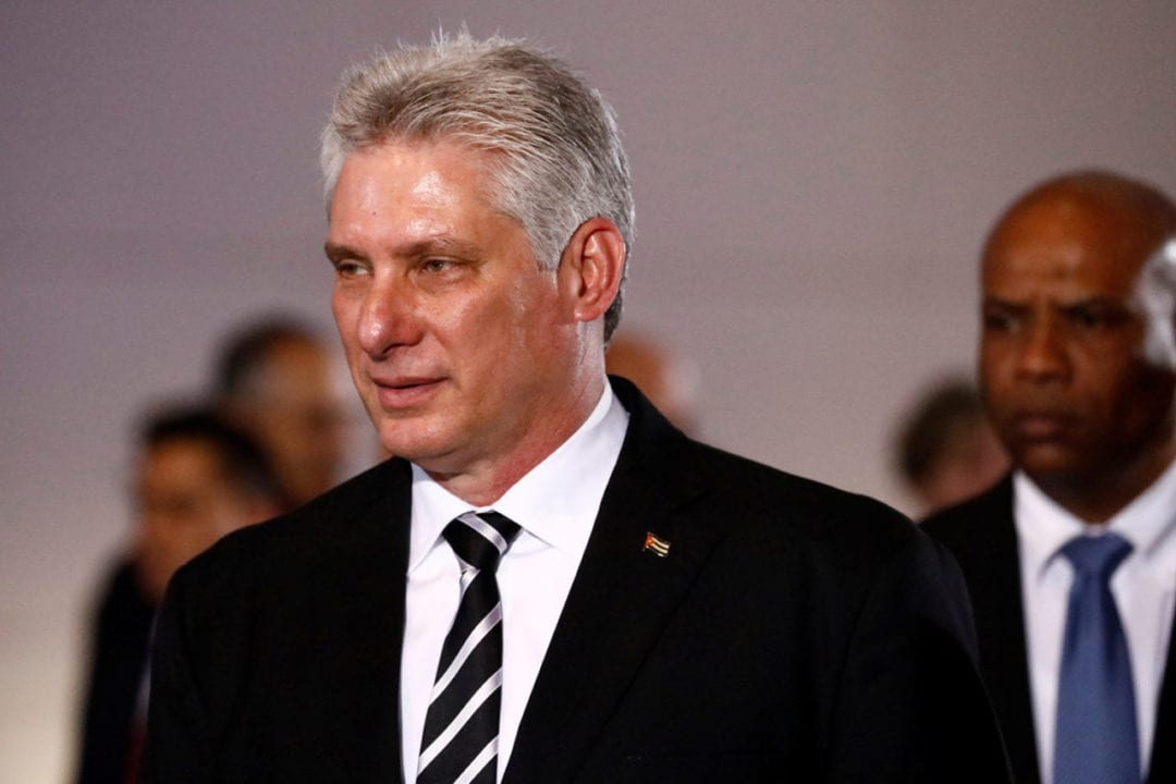 Cuba's President Miguel Diaz-Canel attends a ceremony at the National Pantheon in Caracas