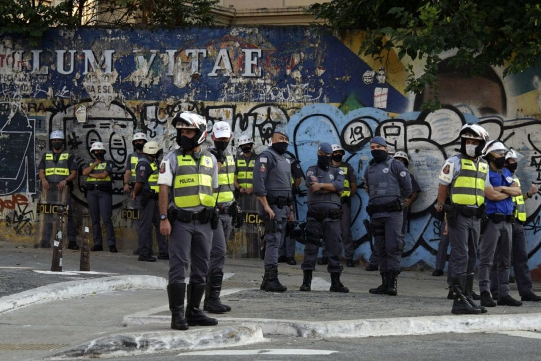 SãO PAULO, BRAZIL - 2020/06/21: Police during the protest against the Brazilian President Jair Bolsonaro over his response to coronavirus pandemic in Sao Paulo. (Photo by Cris Faga/Pacific Press/LightRocket via Getty Images)