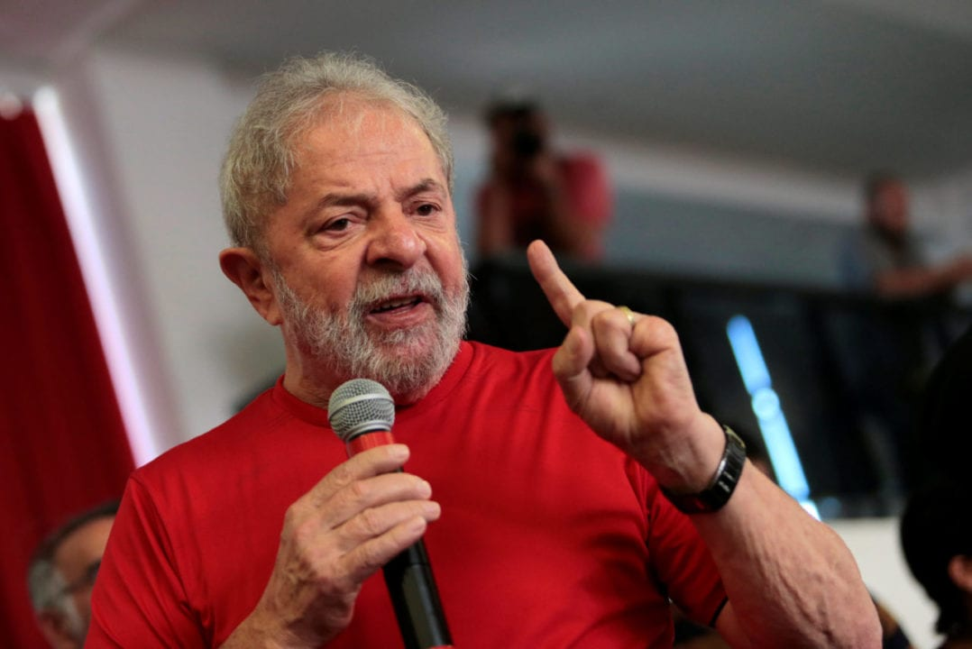 Former Brazilian President Luiz Inacio Lula da Silva speaks at the metallurgical trade union while the Brazilian court decides on his appeal against a corruption conviction that could bar him from running in the 2018 presidential race, in Sao Bernardo do Campo, Brazil January 24, 2018. REUTERS/Leonardo Benassatto NO RESALES. NO ARCHIVES