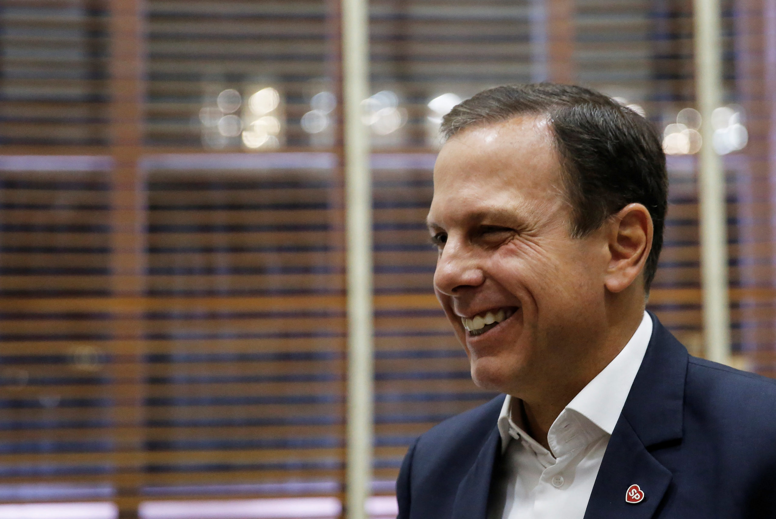 Sao Paulo's Mayor Joao Doria smiles as he talks during an interview with Reuters in Sao Paulo, Brazil, April 4, 2017. Picture taken on April 4, 2017. REUTERS/Nacho Doce