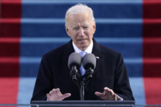 US President Joe Biden speaks after being sworn in as the 46th President of the US during the 59th Presidential Inauguration at the US Capitol in Washington, January 20, 2021. (Photo by Patrick Semansky / POOL / AFP)