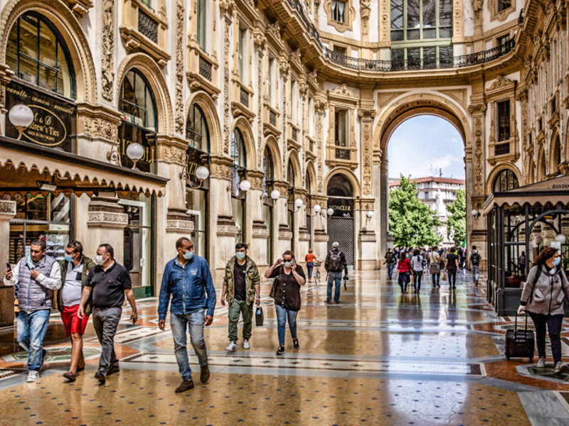 Pedestrians walk through Galleria Vittorio Emanuele in Milan, Italy, on Monday, May 18, 2020. Italy's shoppers may be digging out their wallets as retail businessesreopenon Monday, but many of the country's 2.7 million merchants say theres little to celebrate. Photographer: Francesca Volpi/Bloomberg via Getty Images