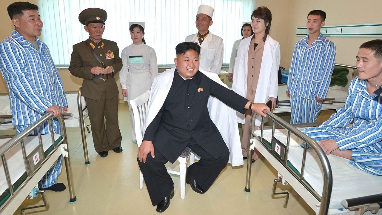 Kim Jong-un at military hospital North Korean leader Kim Jong-un (C) tours a hospital specializing in the treatment of soldiers. Kim's wife Ri Sol-ju is at third from right. North Korea's official Korean Central News Agency reported it on May 19, 2014, without revealing the timing of the visit or the location of the venue. (KCNA-Yonhap)/2014-05-20 11:14:06/   (Newscom TagID: yonphotos074487.jpg) [Photo via Newscom]