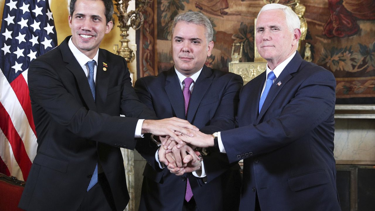 Venezuela's self-proclaimed interim president Juan Guaido, Colombia's President Ivan Duque and Vice President Mike Pence, pose for a photo after a meeting of the Lima Group concerning Venezuela at the Foreign Ministry in Bogota, Colombia, Monday, Feb. 25, 2019. Pence's appearance before the Lima Group comes two days after a U.S.-backed effort to deliver humanitarian across the border from Colombia ended in violence. (AP Photo/Martin Mejia)